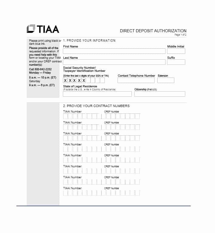 Direct Deposit Authorization form Template Lovely 47 Direct Deposit Authorization form Templates Template