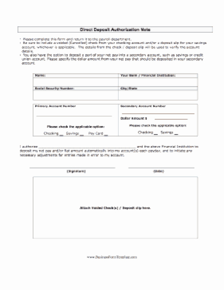 Direct Deposit Authorization form Template Luxury 5 Direct Deposit form Templates Excel Xlts