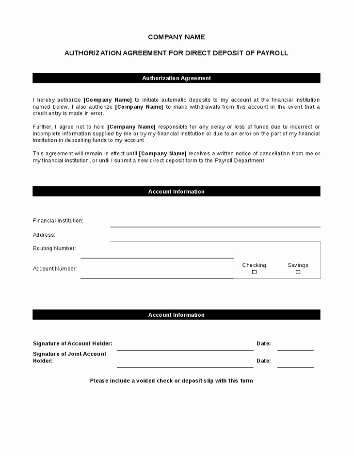 Direct Deposit Authorization form Template New 5 Direct Deposit form Templates Excel Xlts