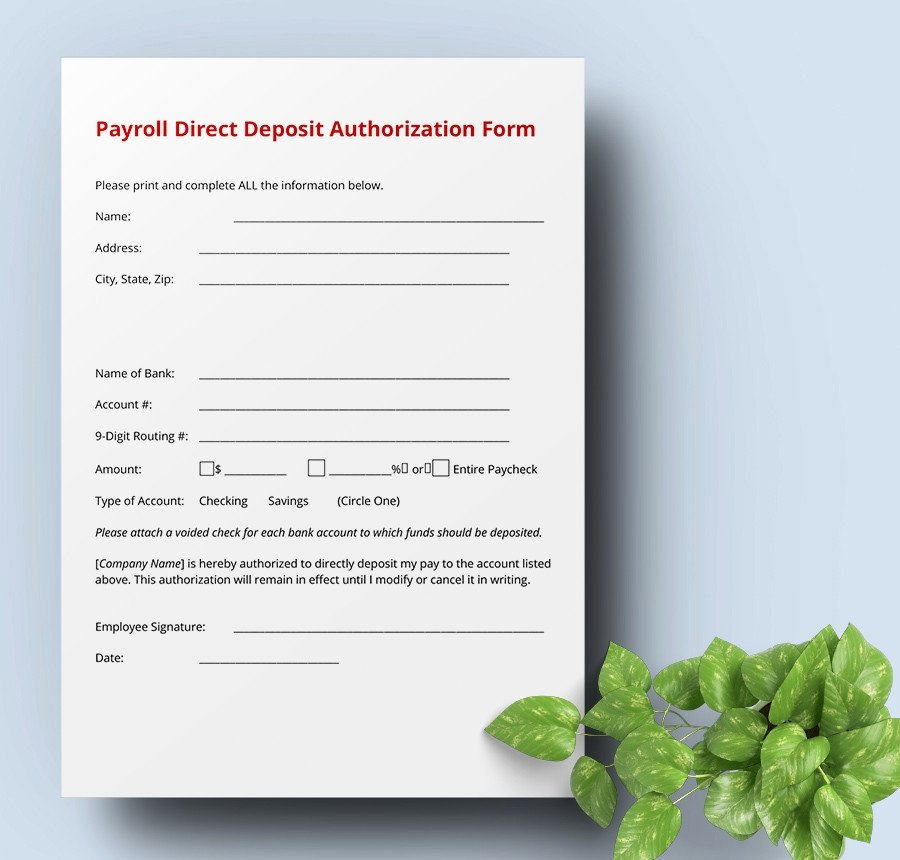 Direct Deposit Authorization form Template New 7 Free Payroll Samples Ledger Schedule