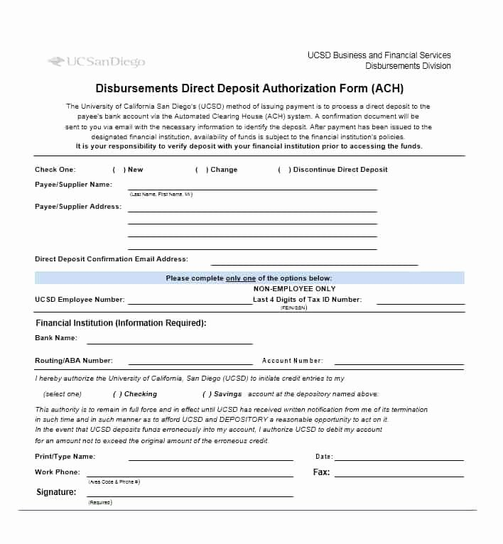 Direct Deposit Authorization form Template Unique 47 Direct Deposit Authorization form Templates Template
