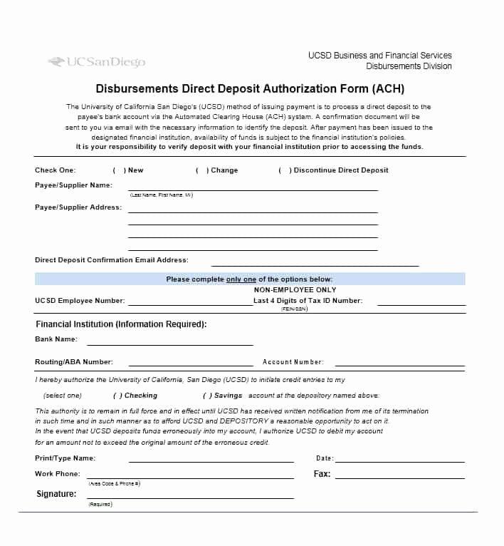 Direct Deposit Authorization form Template Unique 47 Direct Deposit Authorization form Templates Template