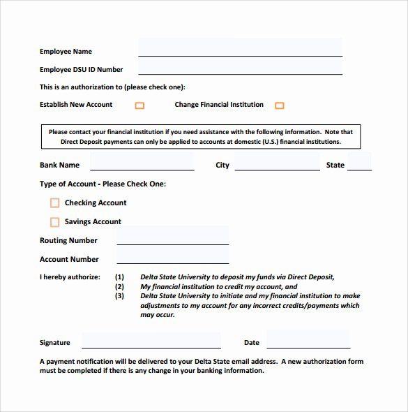 Direct Deposit form Template Awesome Sample Direct Deposit form 8 Download Free Documents In