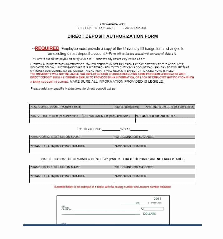 Direct Deposit form Template Fresh 47 Direct Deposit Authorization form Templates Template
