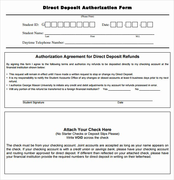Direct Deposit form Template Inspirational Sample Direct Deposit Authorization form Examples 7