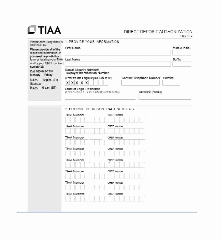 Direct Deposit form Template Lovely 47 Direct Deposit Authorization form Templates Template
