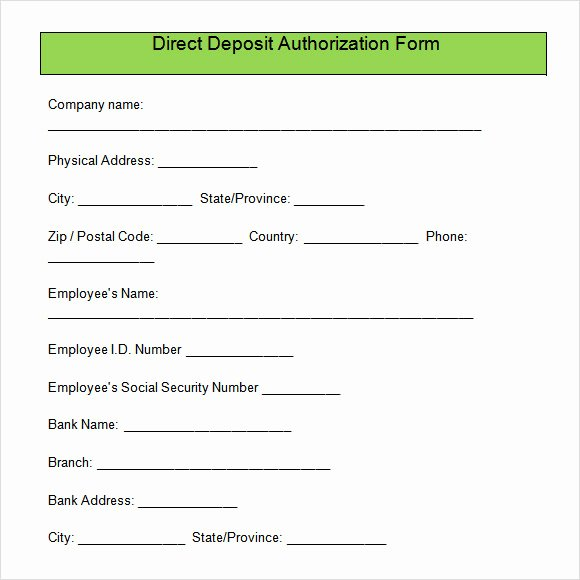 Direct Deposit form Template Lovely Direct Deposit Authorization form Free Download for Pdf