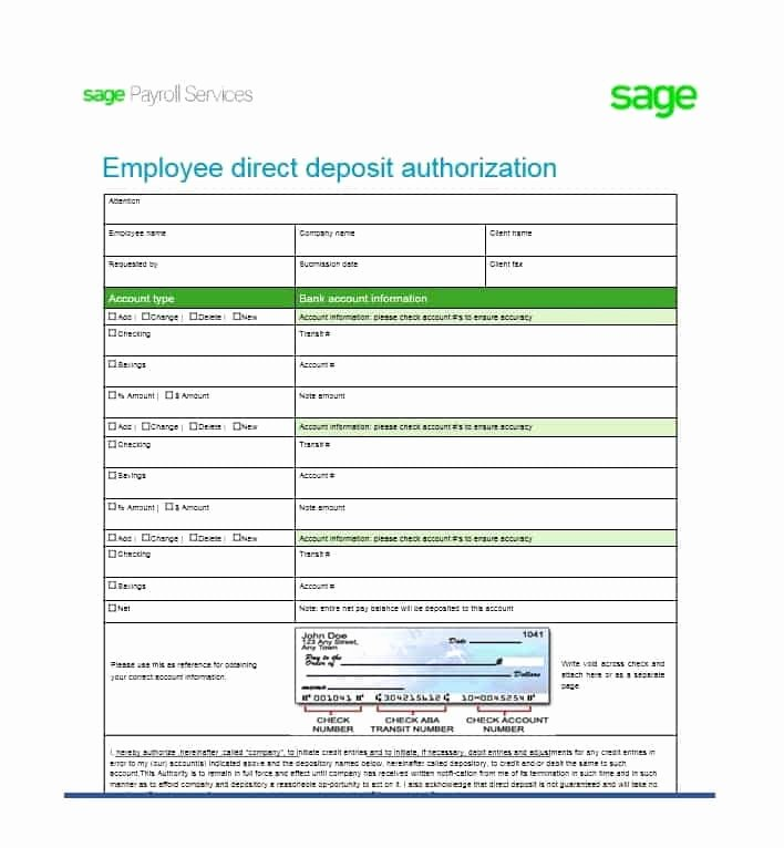 Direct Deposit form Template Luxury 47 Direct Deposit Authorization form Templates Template