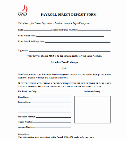 Direct Deposit form Template Unique 4 Direct Deposit form Templates formats Examples In