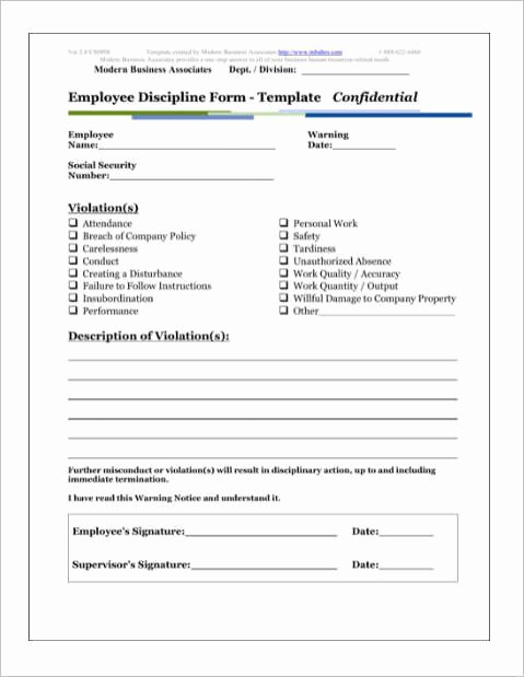 Disciplinary Action form Template Beautiful Employee Discipline form