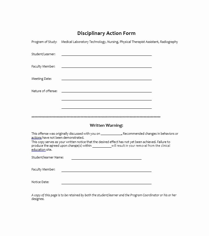 Disciplinary Action form Template Best Of 40 Employee Disciplinary Action forms Template Lab