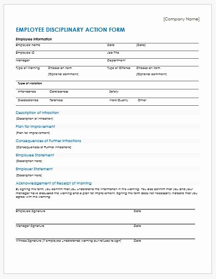 Disciplinary Action form Template Best Of Employee Disciplinary Action forms for Ms Word