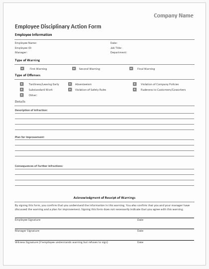Disciplinary Action form Template Best Of Employee Vacation Request form for Ms Word