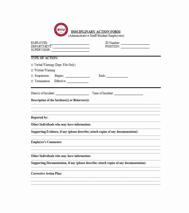 Disciplinary Action form Template Elegant 40 Employee Disciplinary Action forms Template Lab
