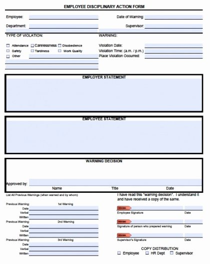 Disciplinary Action form Template Elegant Download Employee Write Up forms