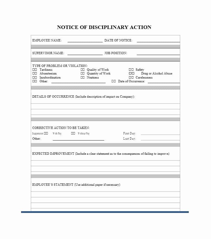 Disciplinary Action form Template Fresh 40 Employee Disciplinary Action forms Template Lab