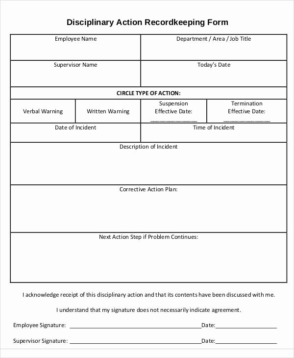Disciplinary Action form Template Inspirational 39 Sample Action forms In Pdf