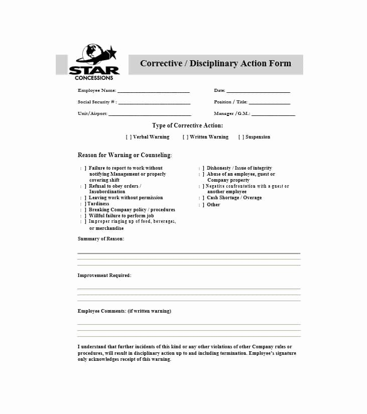 Disciplinary Action form Template Inspirational 40 Employee Disciplinary Action forms Template Lab