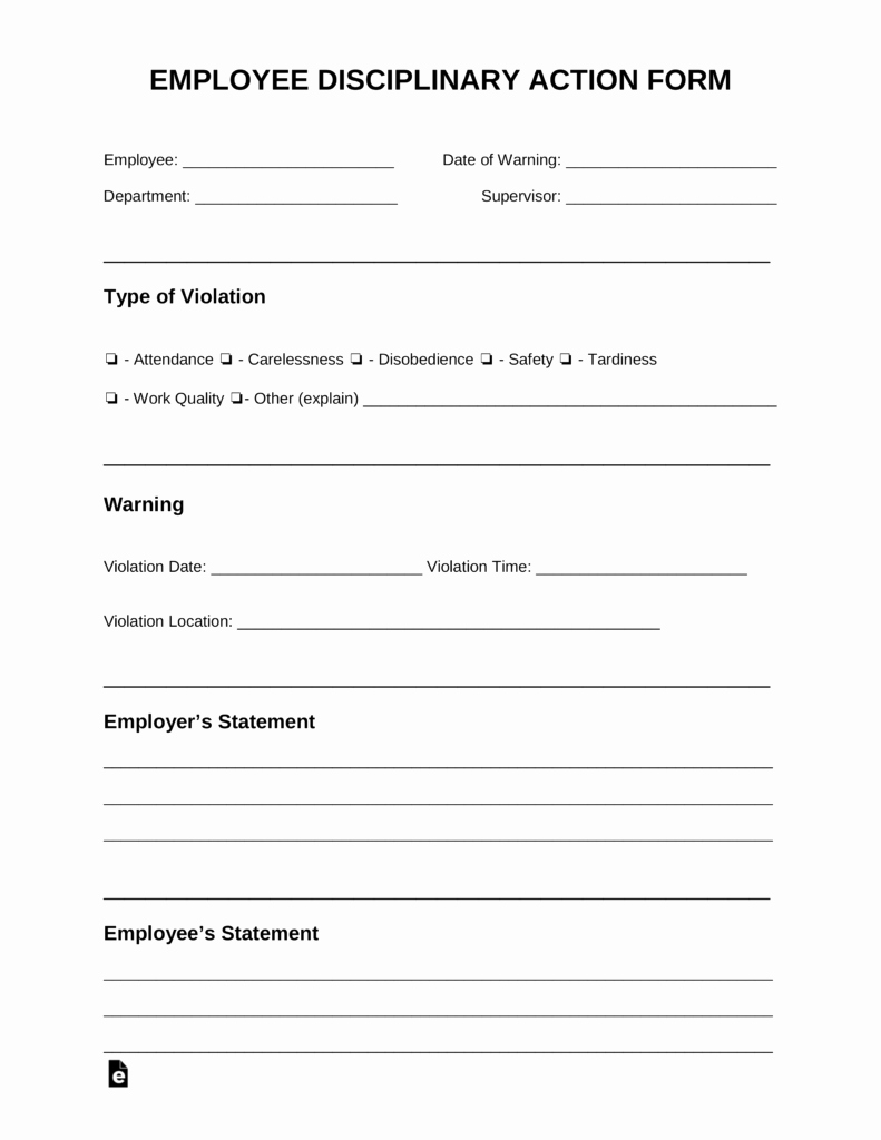 Disciplinary Action form Template Inspirational Free Employee Disciplinary Action Discipline form Pdf