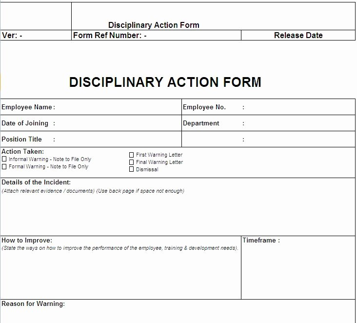 Disciplinary Action form Template Lovely Disciplinary Action form Free Download