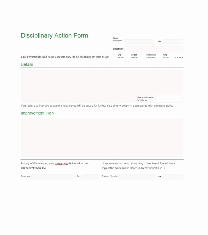 Disciplinary Action form Template Unique 40 Employee Disciplinary Action forms Template Lab