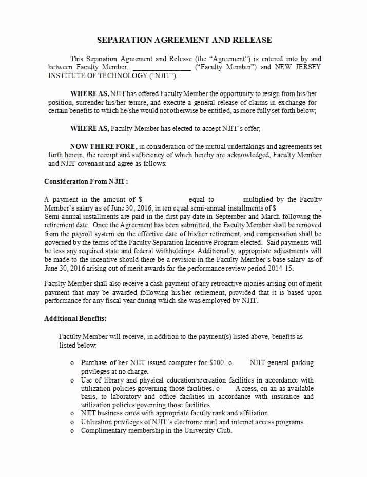 Divorce Agreement Template Free Awesome 43 Ficial Separation Agreement Templates Letters