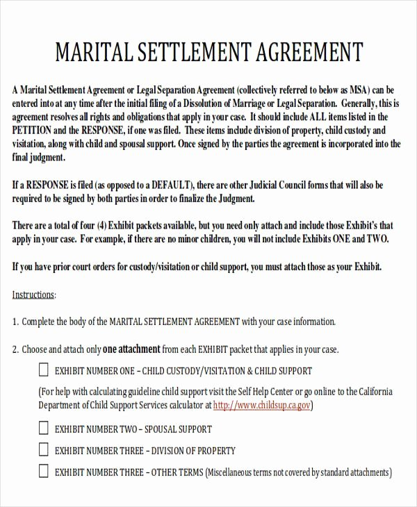 Divorce Agreement Template Free Awesome Divorce Agreement Sample 7 Examples In Word Pdf