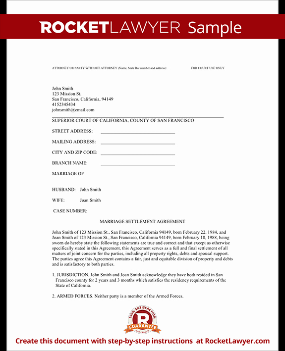 Divorce Agreement Template Free Awesome Divorce Settlement Agreement Template with Sample