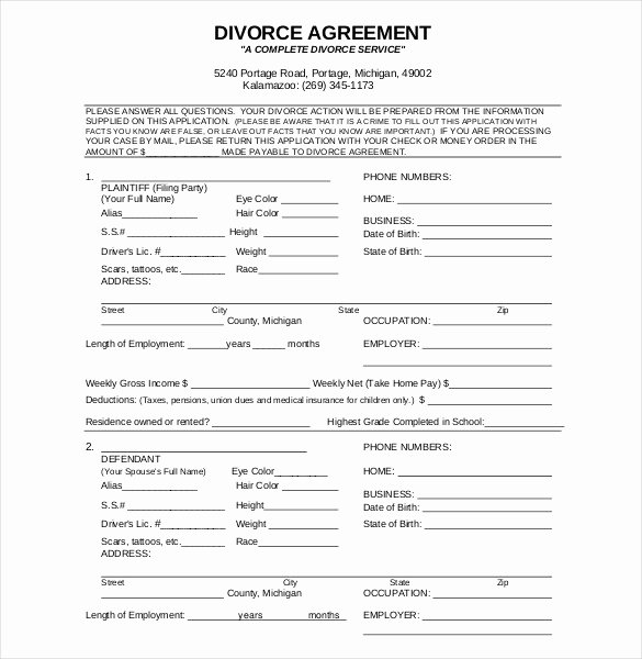 Divorce Agreement Template Free Lovely 12 Divorce Agreement Templates Pdf Doc