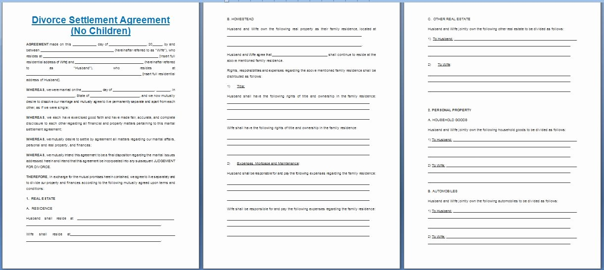 Divorce Agreement Template Free Unique Free Printable Divorce Template form Generic