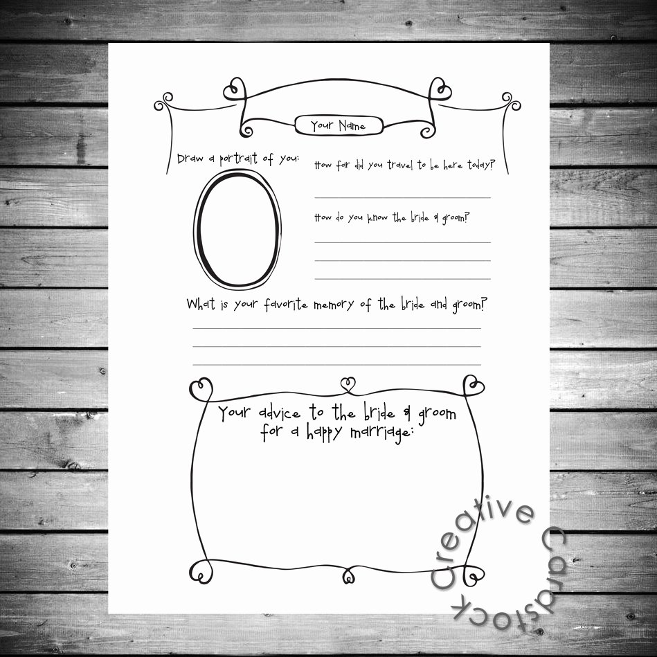 Diy Guest Book Templates Best Of Unique Wedding Guest Book Page Customized by Creativecardstock