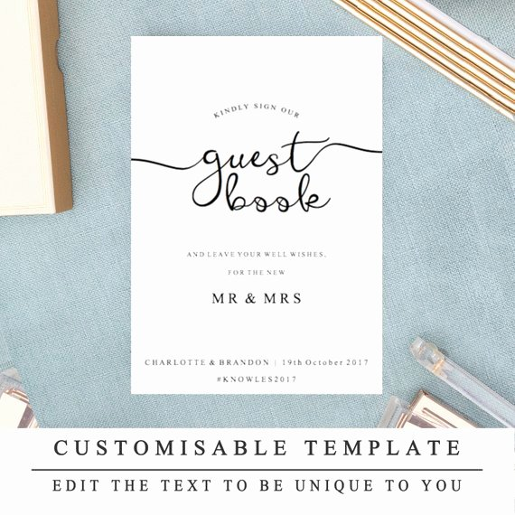 Diy Guest Book Templates Inspirational Diy Printable Wedding Sign Wedding Guestbook Sign Guest