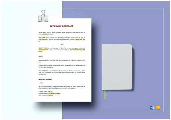 Dj Service Contract Template Awesome Dj Contract