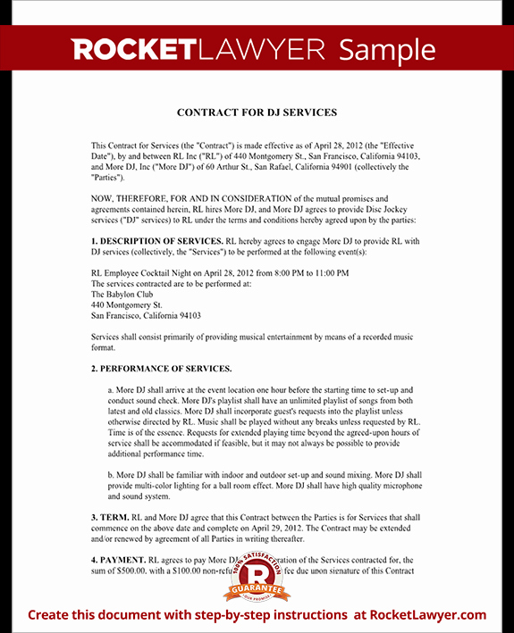 Dj Service Contract Template Awesome Dj Contract Template Dj Agreement with Sample