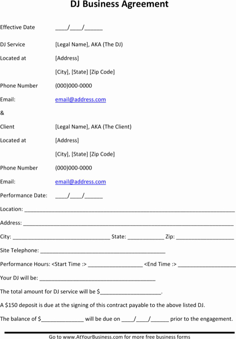 Dj Service Contract Template Awesome Download Dj Contract Template for Free formtemplate
