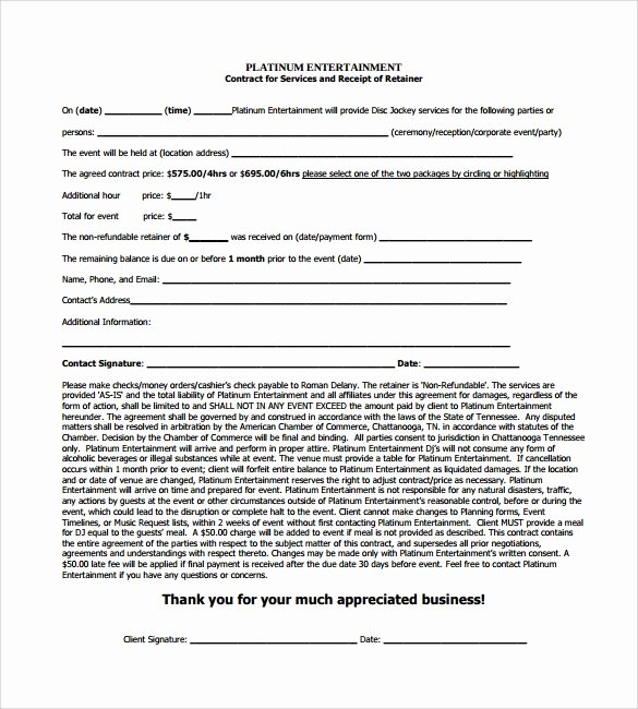Dj Service Contract Template Beautiful Free 20 Sample Best Dj Contract Templates In Google Docs