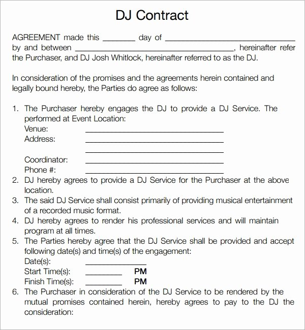 Dj Service Contract Template Best Of Free 20 Sample Best Dj Contract Templates In Google Docs