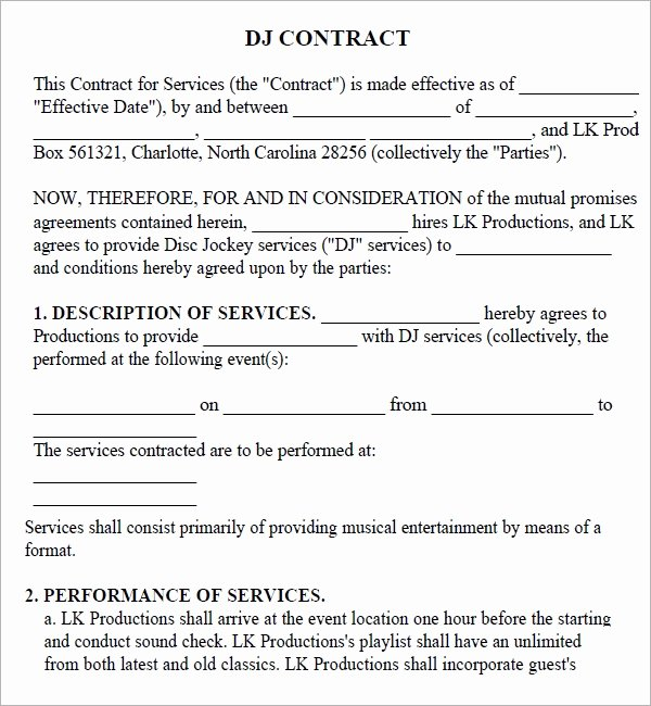 Dj Service Contract Template Inspirational Free 20 Sample Best Dj Contract Templates In Google Docs