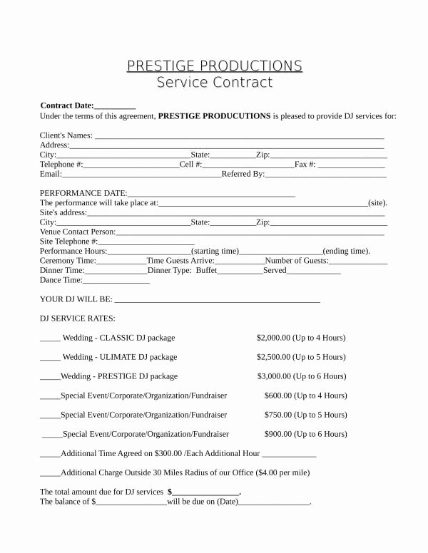 Dj Service Contract Template Lovely 12 Dj Service Contract Template Pdf Word