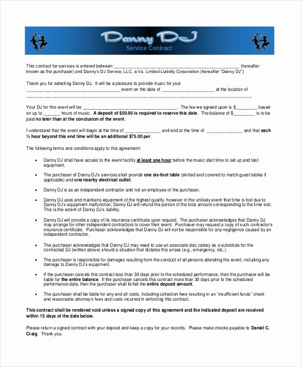Dj Service Contract Template Lovely Sample Dj Contract form 8 Free Documents In Pdf Doc