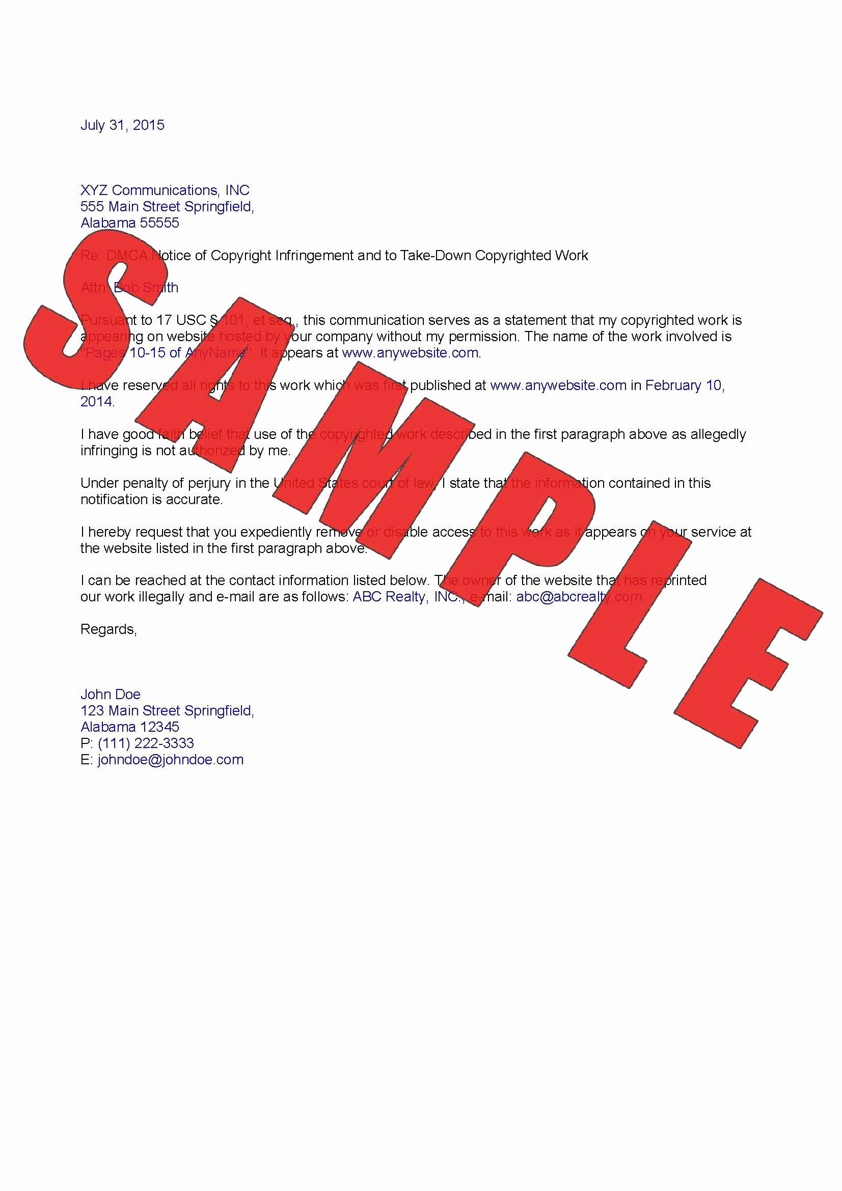 Dmca Takedown Notice Template Awesome Copyright Infringement Take Down Notice to isp Custom