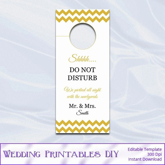 Do Not Disturb Sign Template Elegant Wedding Door Hanger Template Diy Gold by Weddingprintablesdiy