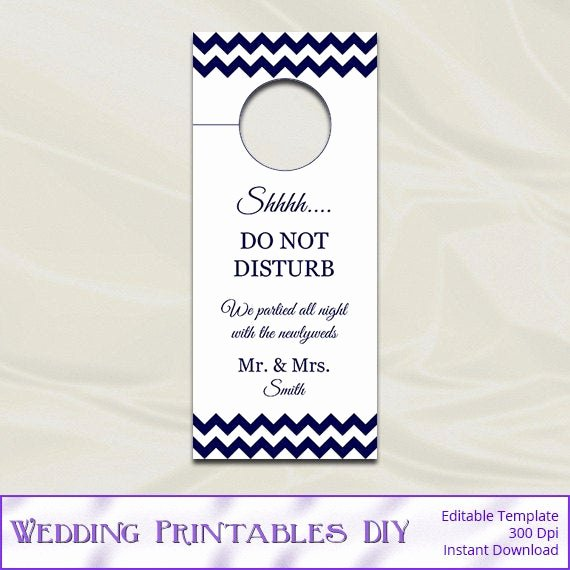 Do Not Disturb Signs Template Awesome Items Similar to Wedding Door Hanger Template Diy Navy
