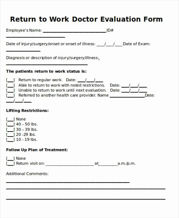Doctor Note Template for Work Beautiful Return to Work Doctors Note Template toma Daretodonate
