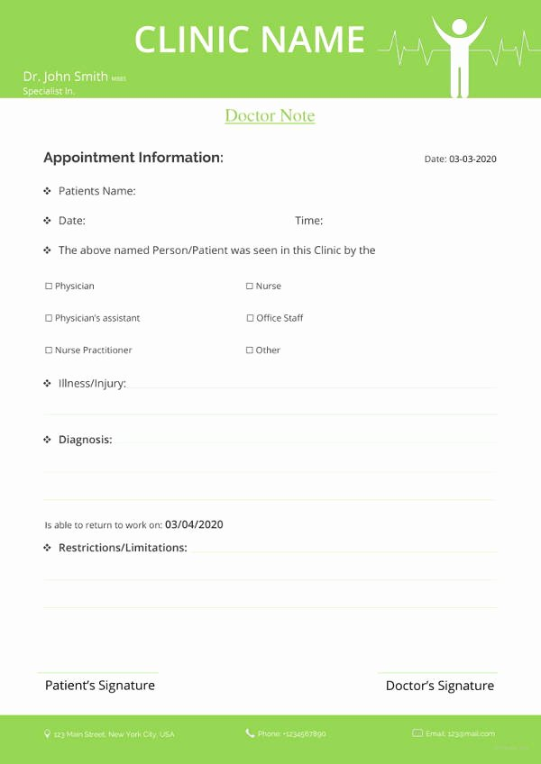 Doctor Note Template for Work Fresh 28 Doctors Note Templates Pdf Doc