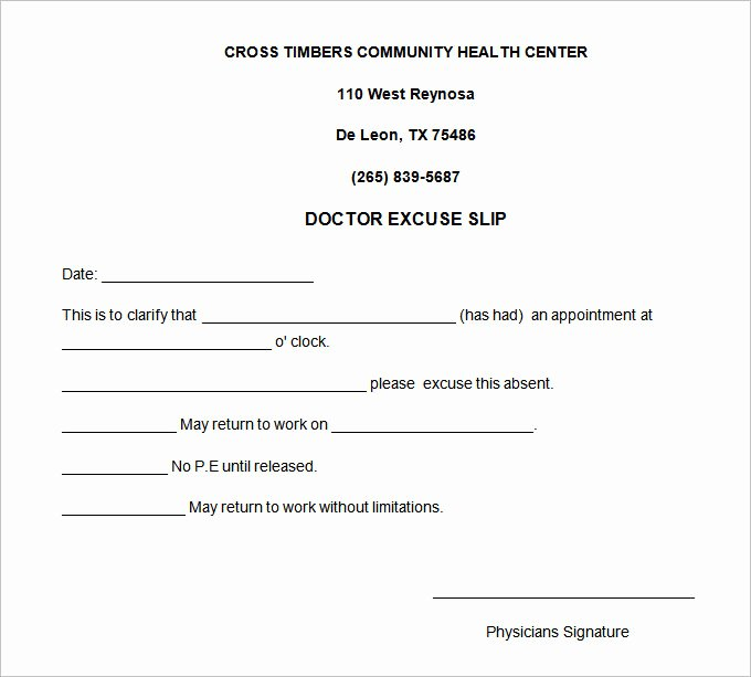 doctor note template