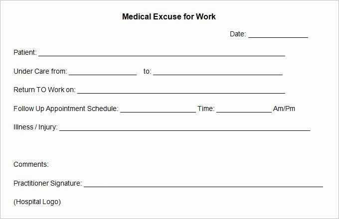 Doctors Excuse for Work Template Lovely 9 Doctor Excuse Templates Pdf Doc