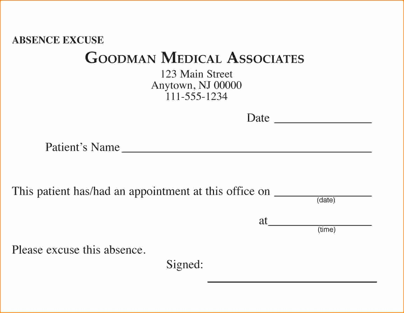 Doctors Excuse Template for Work Inspirational Free Printable Doctors Excuse for Work