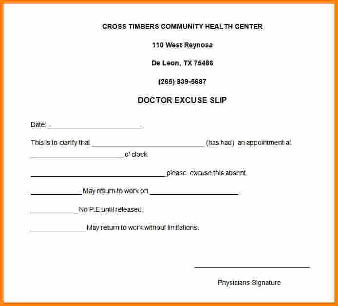 Doctors Excuse Template for Work Lovely 8 Doctor Note for Work