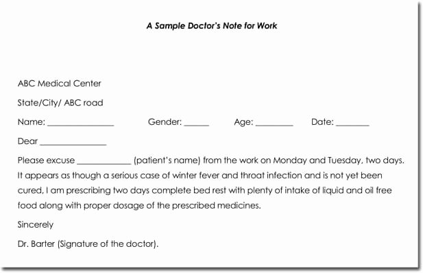Doctors Excuse Template for Work New Doctor S Note Templates 28 Blank formats to Create